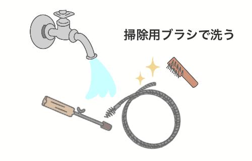 トイレつまりを修理するためのワイヤーを掃除してピカピカになっているイラスト