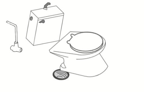 つまり修理のために取り外した洋式トイレを工具を使って取り付けているイラスト